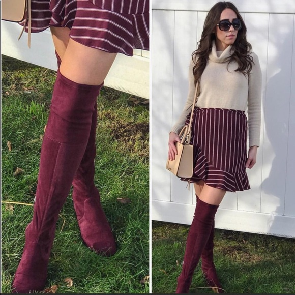 56c93faa336 Over the knee faux suede wine red women boots